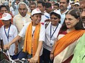Maneka Sanjay Gandhi receiving the cycle rally carrying the message of Beti Bachao Beti Padhao, the cycle rally from Dehradun to Haridwar led by the Minister for Women and Child Development, Uttarakhand, Smt. Rekha Arya.jpg