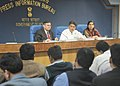 Manish Tewari addressing a Press Conference on 'Digitization and related issues', in New Delhi. The Secretary, Ministry of Information & Broadcasting, Shri Uday Kumar Varma and the Principal Director General (M&C) (1).jpg