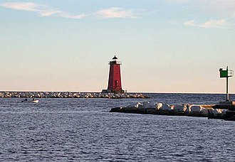 Manistique, Michigan - Manistique East Breakwater Light on Lake Michigan