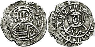 Mezzo hyperpyron raffigurante Cristo e Manuele II Paleologo.