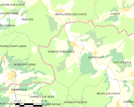 Mapa obce Grancey-sur-Ource