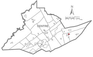 Aaronsburg, Centre County, Pennsylvania - Image: Map of Aaronsburg, Centre County, Pennsylvania Highlighted