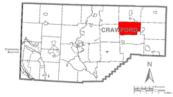 Location of Athens Township in Crawford County