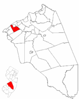 Delran highlighted in Burlington County. Inset map: Burlington County highlighted in the State of New Jersey.
