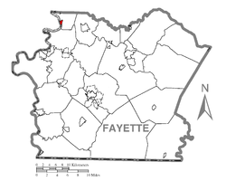 Location of Fayette City in Fayette County