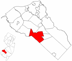 Elk Township highlighted in Gloucester County. Inset map: Gloucester County highlighted in the State of New Jersey.