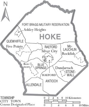 Hoke County, North Carolina - Map of Hoke County, North Carolina with municipal and township labels