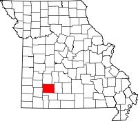 Map of Missouri highlighting Greene County