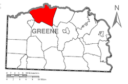 Location of Morris Township in Greene County