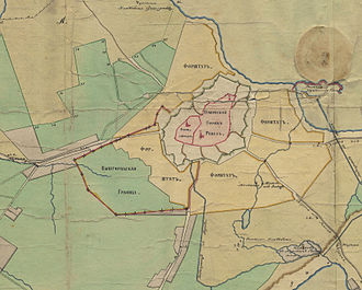 Toompea - An early 19th century map showing the border between the territories of Toompea and the Lower Town
