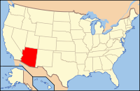 Map of the U.S. highlighting Arizona