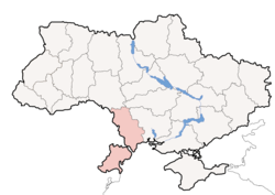 Map of Ukraine with Odessa Oblast highlighted.