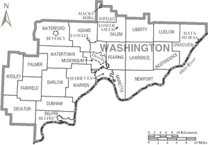 Washington County, Ohio - Map of Washington County, Ohio With Municipal and Township Labels