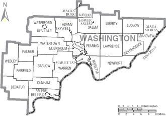 Washington County, Ohio - Map of Washington County, Ohio With Municipal and Township Labels