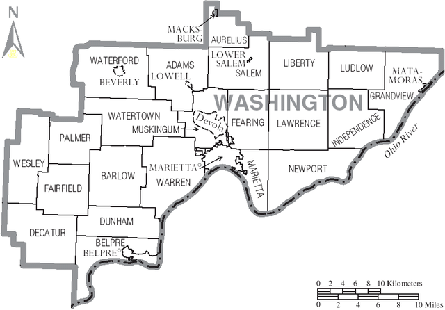 FileMap of Washington County Ohio With Municipal and Township