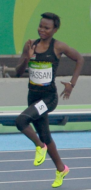 South Sudan at the 2016 Summer Olympics - Margret Hassan competing in the women's 200 m at the 2016 Summer Olympics.