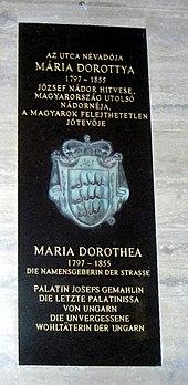 Gedenktafel für Maria Dorothea in der Dorottya utca (Dorothea Gasse) in Budapest (Quelle: Wikimedia)