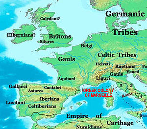 Greeks in pre-Roman Gaul - Location of the Greek colony of Marseille.