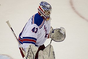 Martin Biron - Biron during the 2010-11 NHL season as a member of the Rangers.