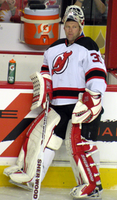 Martin Brodeur before a game in Calgary during the 2011–2012 season 7bbfdce95