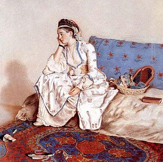 Maria Coventry, Countess of Coventry - Portrait of a pensive woman on a sofa, a 1749 painting of Mary Gunning in Turkish costume by Jean-Étienne Liotard