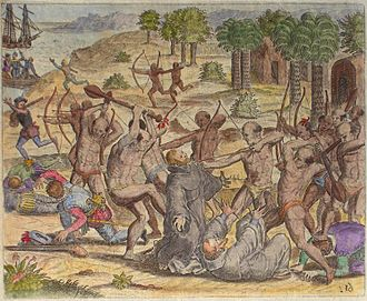 "Indigenous peoples in Venezuela - The Natives of Cumaná attack the mission after Gonzalez de Ocampo's slaving raid. Colored copperplate by Theodor de Bry, published in the ""Relación brevissima"""