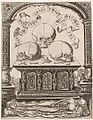 Master S, Flemish active (1520s -50s), Three skulls on a carved tomb (c. 1525-50). Engraving, 25.7 x 20.0 cm (image), 25.4 x 20.1 cm (sheet trimmed within platemark). National Gallery of Victoria,.jpg