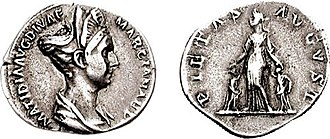 Salonia Matidia - Denarius showing Matidia Augusta as the goddess Pietas, holding hands with her daughters Sabina and Matidia Minor