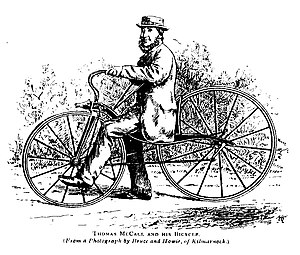 Thomas McCall - Thomas McCall in 1869 on his velocipede (from Bicycling News 2/6/1892)