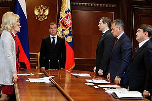 Bulgaria (ship) - Russian president Dmitry Medvedev holds a moment of silence, 11 July 2011.