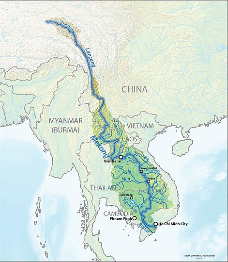 The Mekong is a trans-boundary river, originating in the Tibetan Plateau. Its upper tributary river systems (e.g. the Salween River) are restricted to narrow gorges, but the tributaries that feed its lower reaches (e.g. the Mun River) cover larger areas.