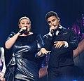 Melodifestivalen 2019, deltävling 1, Scandinavium, Göteborg, programledarna, 5.jpg
