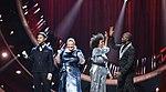 Melodifestivalen 2019, deltävling 1, Scandinavium, Göteborg, programledarna, 7.jpg