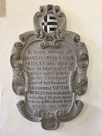 Tom Bridges - Memorial to Tom Bridges in St Nicholas-at-Wade, Kent