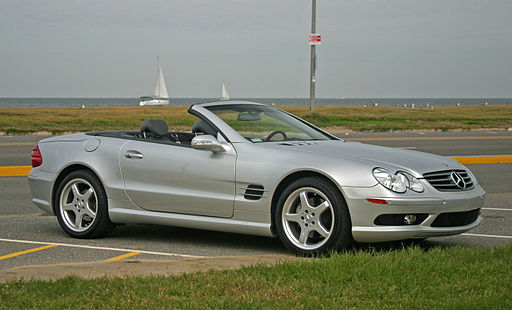 Mercedes-Benz SL500 silver open
