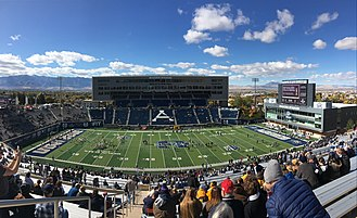 Maverik Stadium - View from east before the 2017 homecoming game with Wyoming