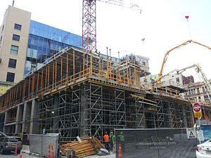 Millennium Tower (Boston) - Image: Millennium Tower construction, 18 August 2014
