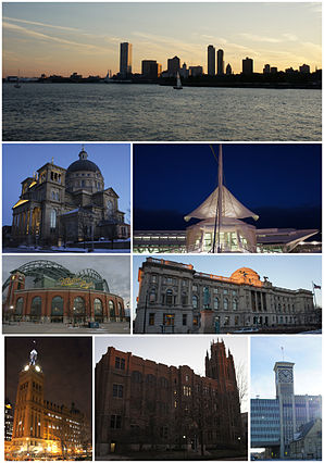Ansichten von Milwaukee (im Uhrzeigersinn von oben): Milwaukee Skyline, Milwaukee Art Museum, Milwaukee Central Library, Allen-Bradley Clock Tower, Marquette Hall der Marquette University, Miller Park, Basilica St. Josaphat