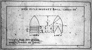 Cannelure - Minie Ball showing three cannelures, Improved Harper's Ferry Bullet 1855
