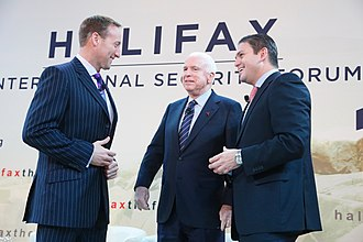 Juan Carlos Pinzón - Pinzón with Canadian Minister of National Defence Peter MacKay (left) and US Senator John McCain at the Halifax International Security Forum in 2012