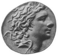A silver coin depicting Mithradates VI of Pontus.