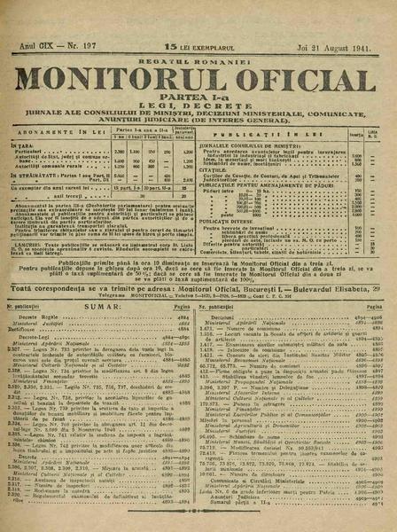 File:Monitorul Oficial al României. Partea 1 1941-08-21, nr. 197.pdf