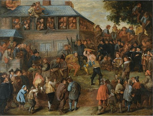 Monogrammist H.C. - Large crowd with peasants fighting in front of a house