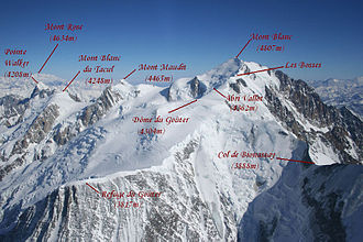 Vallot Hut - Aerial photo showing location of Vallot Hut below Mont Blanc