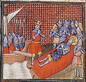 Louis IX  the saint dies before Tunis;  His brother Charles of Anjou, King of Sicily, stands at his deathbed, Grandes Chroniques de France, 14th century