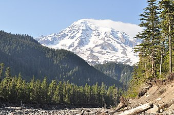 Mount Rainier from Nisqually River near Cougar Rock campground 01.jpg