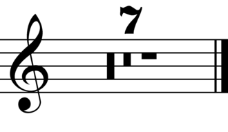 Rest (music) - Seven measure multirest, notated variously