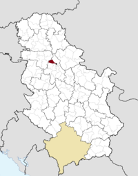 Location of the municipality of Zemun within Serbia