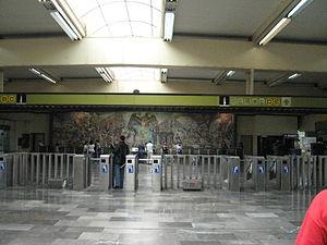 Metro Universidad - One of the murals painted on the Metro Universidad Station. It was painted by Arturo García Bustos and titled La Universidad en el umbral del siglo XXI and dated 1989.