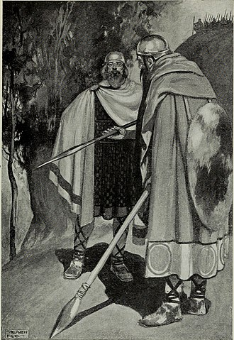 Cath Maige Tuired - The expulsion of King Bres, from a 1910 illustration.